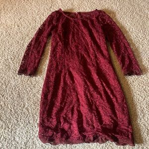 Red lace dress with 3/4 length sleeves